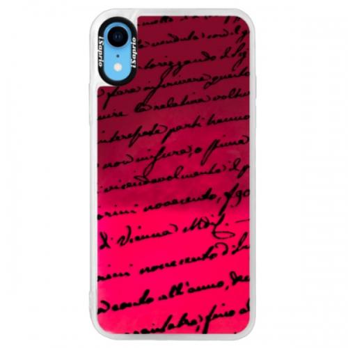 Neonové pouzdro Pink iSaprio - Handwriting 01 - black - iPhone XR