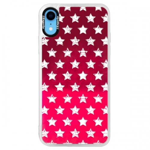 Neonové pouzdro Pink iSaprio - Stars Pattern - white - iPhone XR