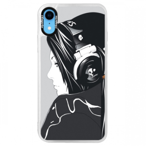 Neonové pouzdro Pink iSaprio - Headphones - iPhone XR