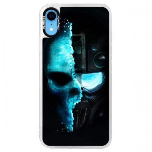 Neonové pouzdro Pink iSaprio - Roboskull - iPhone XR