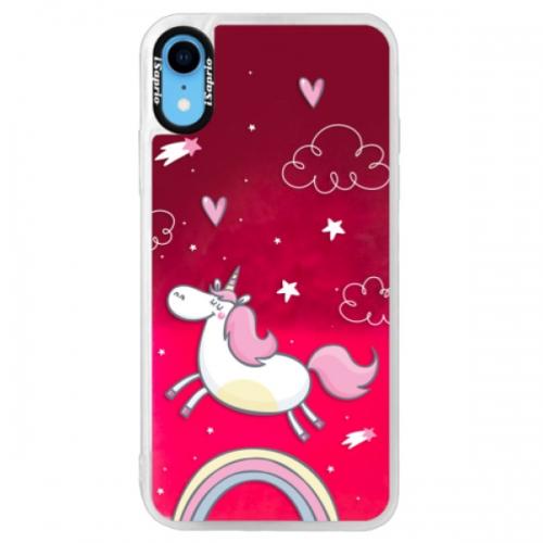 Neonové pouzdro Pink iSaprio - Unicorn 01 - iPhone XR