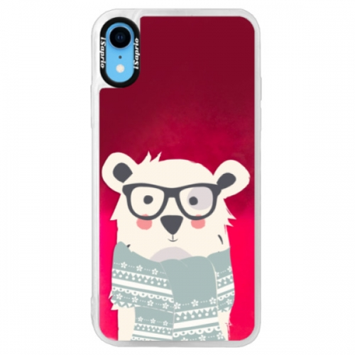 Neonové pouzdro Pink iSaprio - Bear with Scarf - iPhone XR