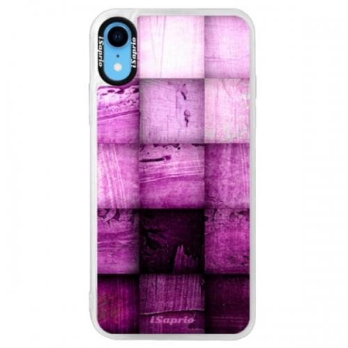 Neonové pouzdro Pink iSaprio - Purple Squares - iPhone XR