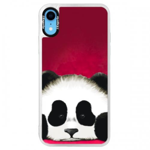 Neonové pouzdro Pink iSaprio - Sad Panda - iPhone XR