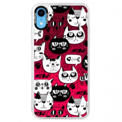 Neonové pouzdro Pink iSaprio - Cat pattern 03 - iPhone XR