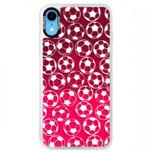 Neonové pouzdro Pink iSaprio - Football pattern - white - iPhone XR