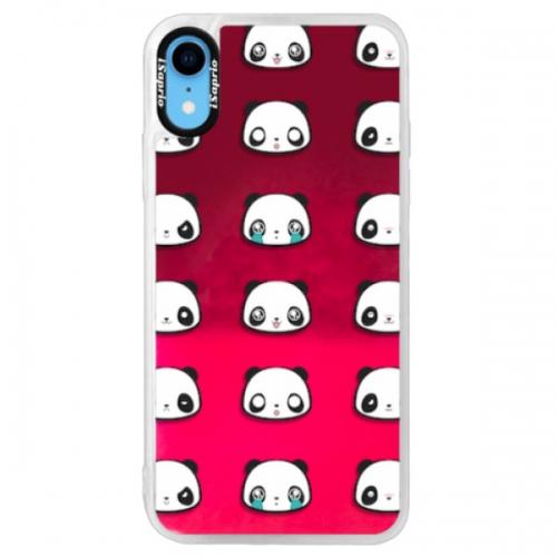 Neonové pouzdro Pink iSaprio - Panda pattern 01 - iPhone XR