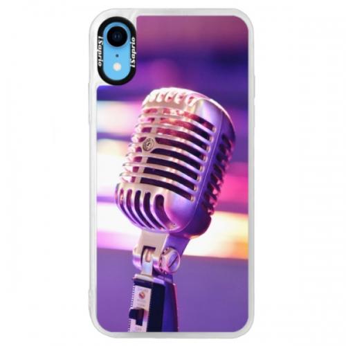 Neonové pouzdro Blue iSaprio - Vintage Microphone - iPhone XR