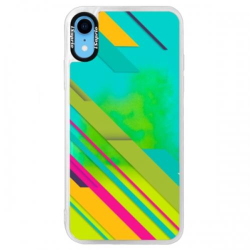 Neonové pouzdro Blue iSaprio - Color Stripes 03 - iPhone XR