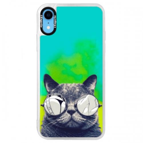 Neonové pouzdro Blue iSaprio - Crazy Cat 01 - iPhone XR