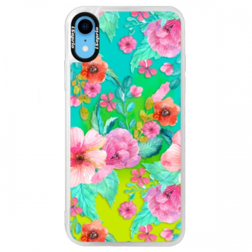 Neonové pouzdro Blue iSaprio - Flower Pattern 01 - iPhone XR