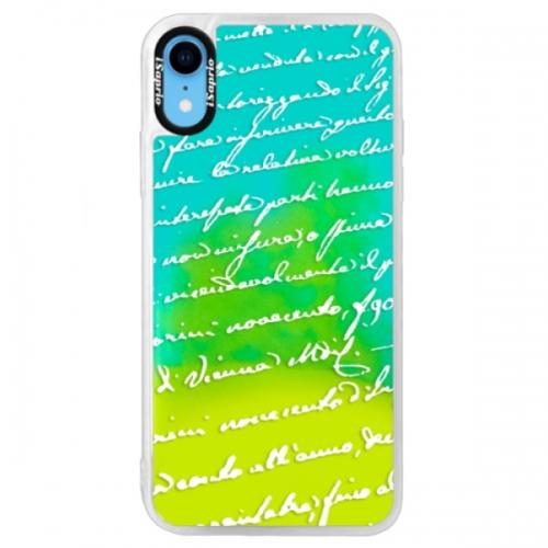 Neonové pouzdro Blue iSaprio - Handwriting 01 - white - iPhone XR