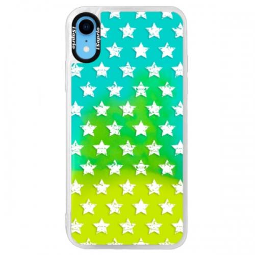 Neonové pouzdro Blue iSaprio - Stars Pattern - white - iPhone XR