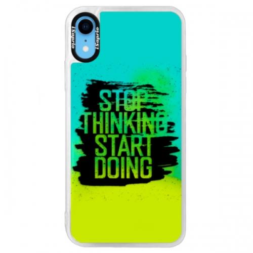 Neonové pouzdro Blue iSaprio - Start Doing - black - iPhone XR