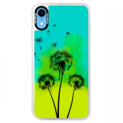 Neonové pouzdro Blue iSaprio - Three Dandelions - black - iPhone XR