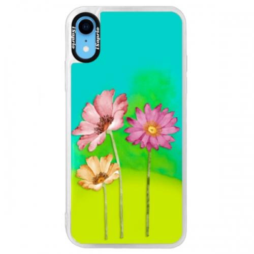 Neonové pouzdro Blue iSaprio - Three Flowers - iPhone XR