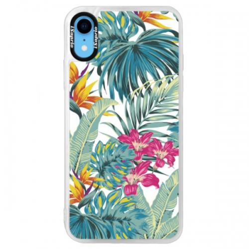 Neonové pouzdro Blue iSaprio - Tropical White 03 - iPhone XR