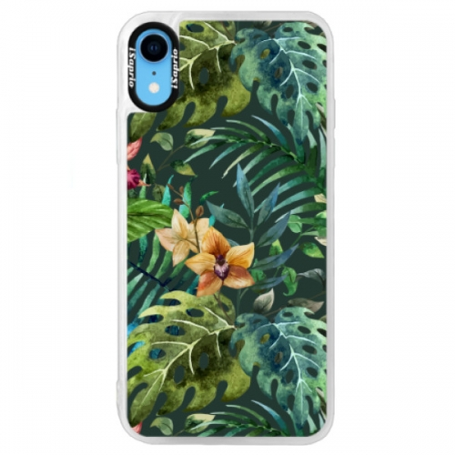 Neonové pouzdro Blue iSaprio - Tropical Green 02 - iPhone XR