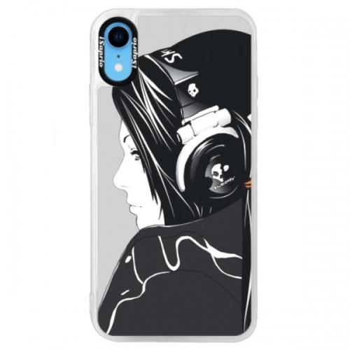 Neonové pouzdro Blue iSaprio - Headphones - iPhone XR