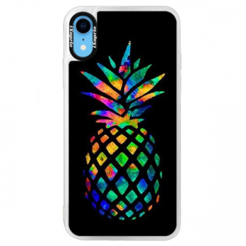 Neonové pouzdro Blue iSaprio - Rainbow Pineapple - iPhone XR