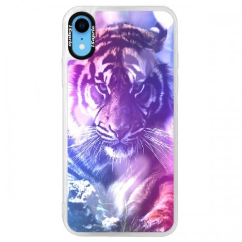 Neonové pouzdro Blue iSaprio - Purple Tiger - iPhone XR
