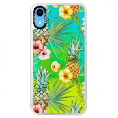Neonové pouzdro Blue iSaprio - Pineapple Pattern 02 - iPhone XR