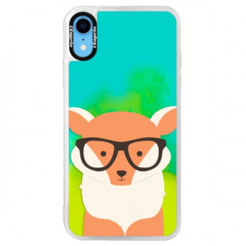 Neonové pouzdro Blue iSaprio - Orange Fox - iPhone XR