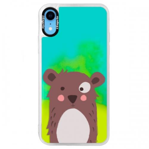 Neonové pouzdro Blue iSaprio - Brown Bear - iPhone XR
