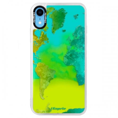 Neonové pouzdro Blue iSaprio - Cold Map - iPhone XR