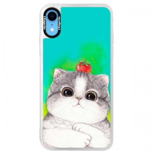 Neonové pouzdro Blue iSaprio - Cat 03 - iPhone XR