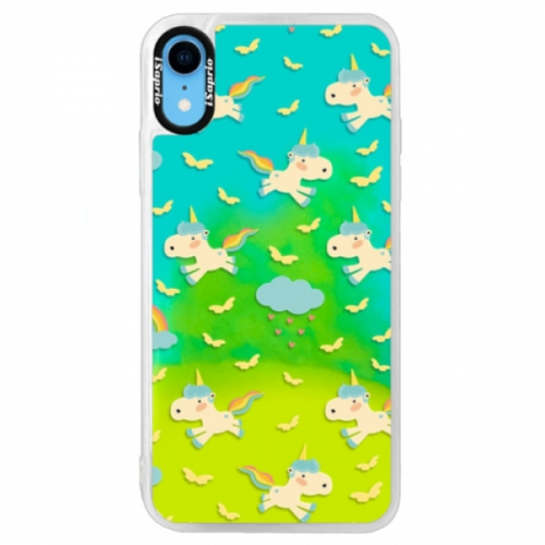 Neonové pouzdro Blue iSaprio - Unicorn pattern 01 - iPhone XR