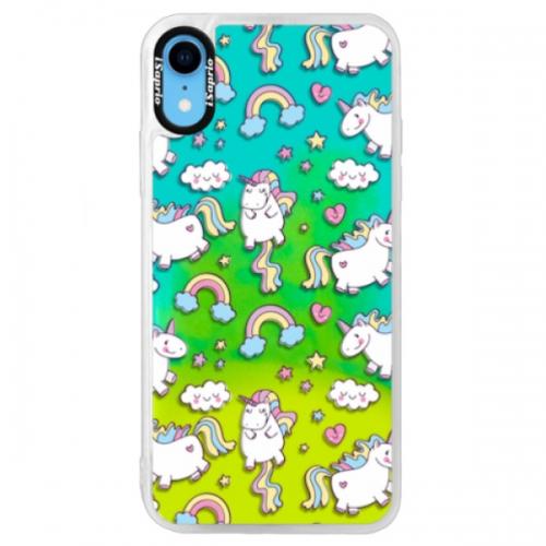 Neonové pouzdro Blue iSaprio - Unicorn pattern 02 - iPhone XR