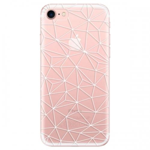 Odolné silikonové pouzdro iSaprio - Abstract Triangles 03 - white - iPhone 7