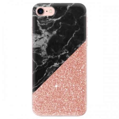 Odolné silikonové pouzdro iSaprio - Rose and Black Marble - iPhone 7