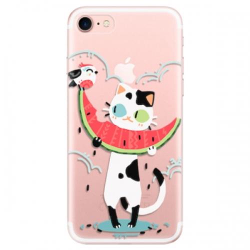 Odolné silikonové pouzdro iSaprio - Cat with melon - iPhone 7