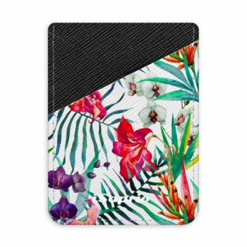 Pouzdro na kreditní karty iSaprio - Flower Pattern 03 - tmavá nalepovací kapsa
