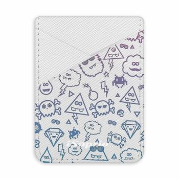 Pouzdro na kreditní karty iSaprio - Funny Clouds - světlá nalepovací kapsa