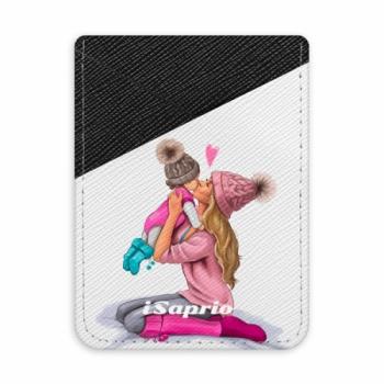 Pouzdro na kreditní karty iSaprio - Kissing Mom - Blond and Girl - tmavá nalepovací kapsa