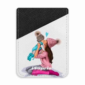 Pouzdro na kreditní karty iSaprio - Kissing Mom - Brunette and Boy - tmavá nalepovací kapsa
