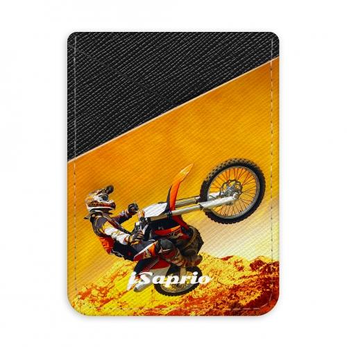 Pouzdro na kreditní karty iSaprio - Motocross - tmavá nalepovací kapsa