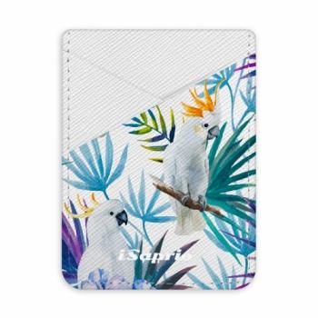 Pouzdro na kreditní karty iSaprio - Parrot Pattern 01 - světlá nalepovací kapsa