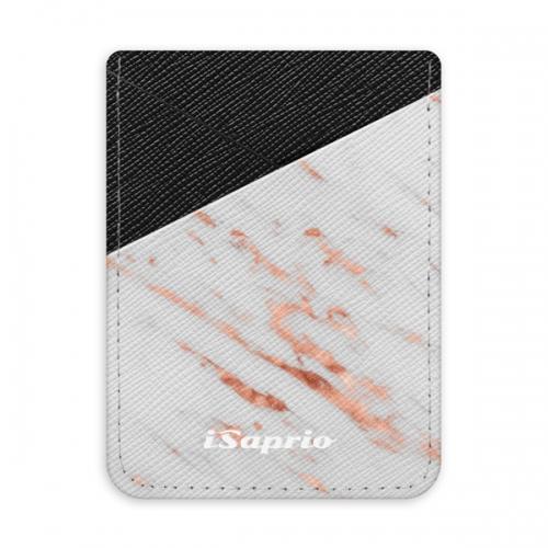 Pouzdro na kreditní karty iSaprio - Rose Gold Marble - tmavá nalepovací kapsa