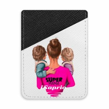 Pouzdro na kreditní karty iSaprio - Super Mama - Two Boys - tmavá nalepovací kapsa