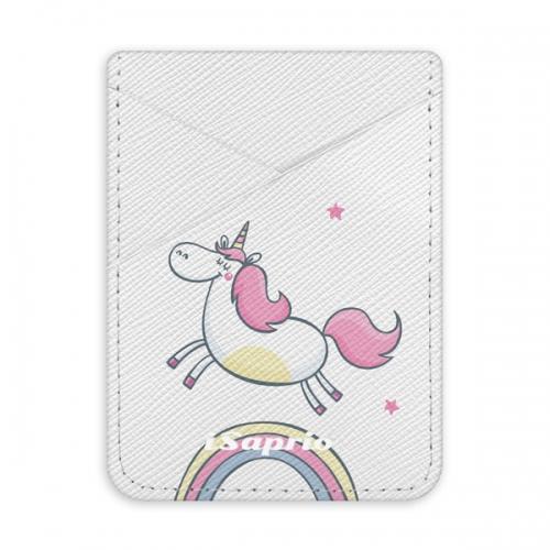 Pouzdro na kreditní karty iSaprio - Unicorn 01a - světlá nalepovací kapsa
