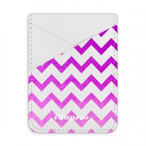 Pouzdro na kreditní karty iSaprio - Zigzag - purple - světlá nalepovací kapsa