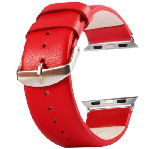 Kožený pásek / řemínek Kakapi pro Apple Watch 38mm červený