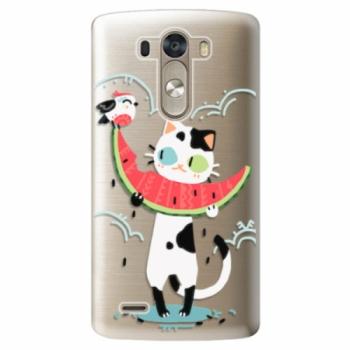 Plastové pouzdro iSaprio - Cat with melon - LG G3 (D855)