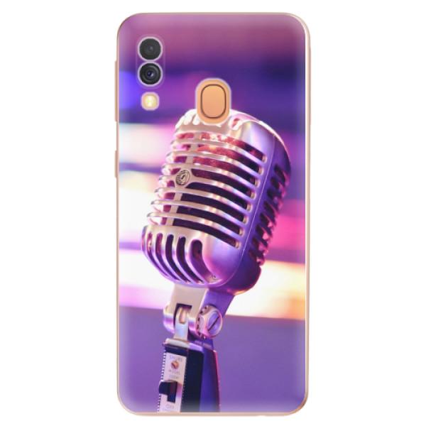 Odolné silikonové pouzdro iSaprio - Vintage Microphone - Samsung Galaxy A40