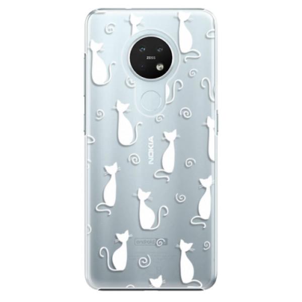 Plastové pouzdro iSaprio - Cat pattern 05 - white - Nokia 7.2