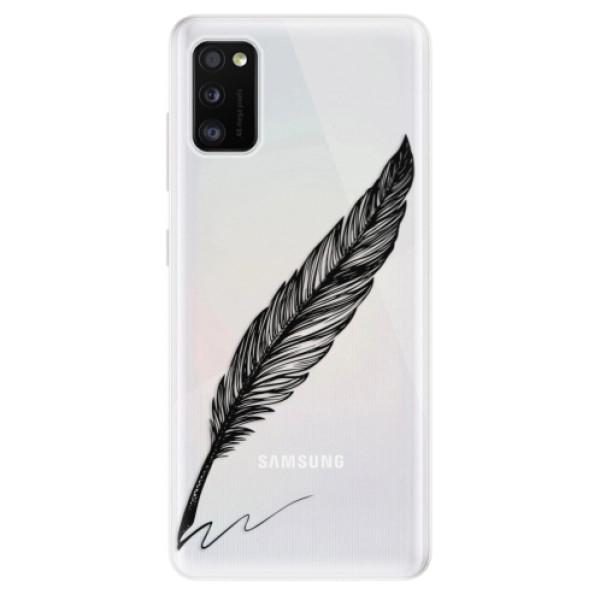 Odolné silikonové pouzdro iSaprio - Writing By Feather - black - Samsung Galaxy A41